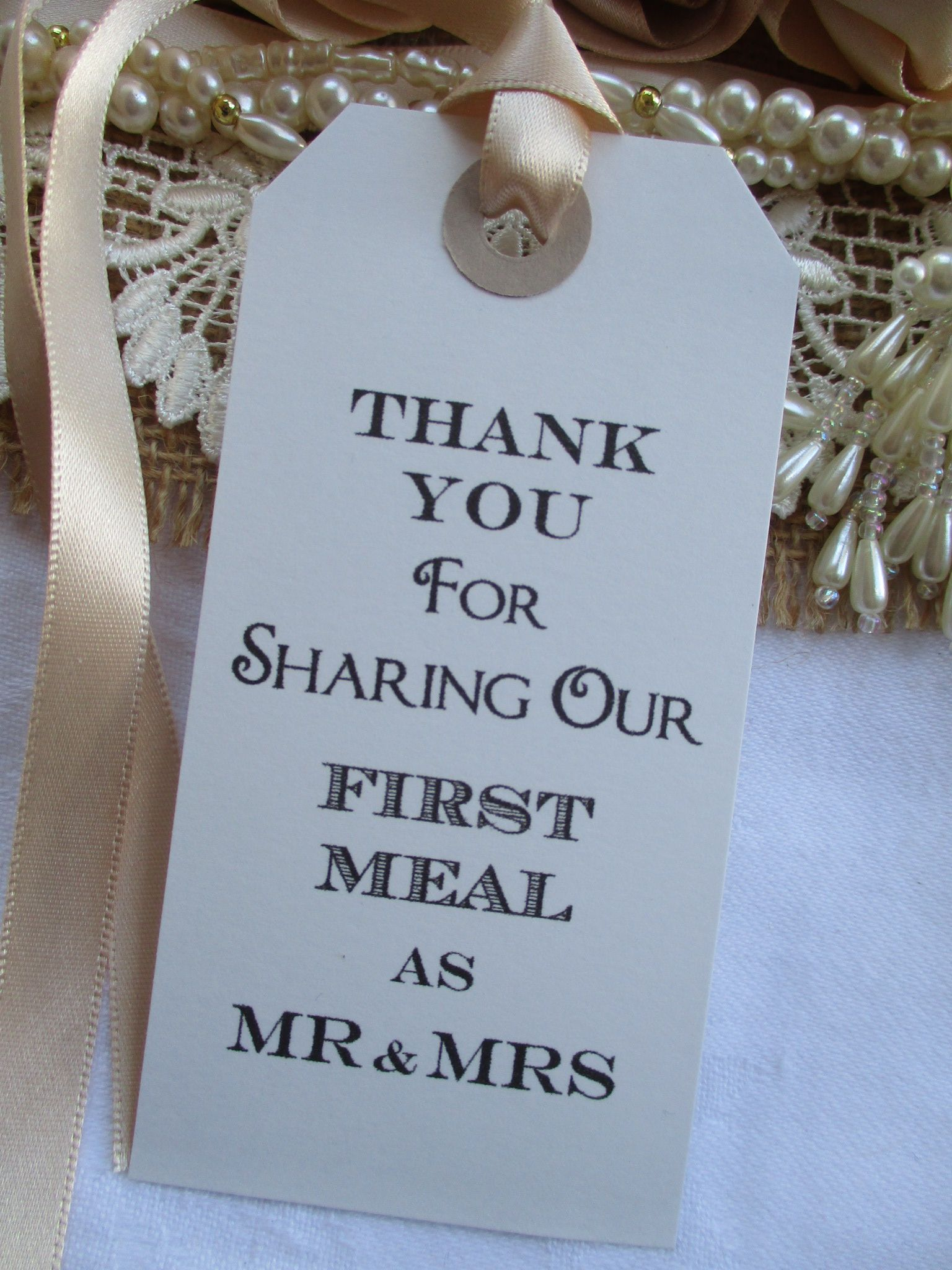 10 Thank You For Sharing Our First Meal As Mr Amp Mrs Napkin